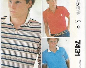 McCall's 7431 Men's Knit Shirt Pattern, Size Medium 38-40, UNCUT