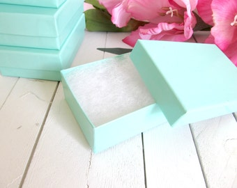 10 - 3 1/8 x 2 1/8 x 1 Teal Blue Cotton Filled Jewelry Boxes -teal blue boxes,cotton filled boxes,blue jewelry box,small jewelry boxes