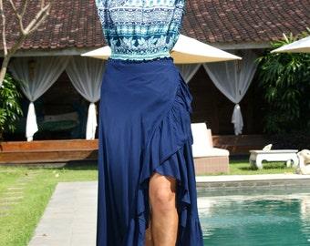 SALE! Skirt Boho Maxi/Wrap skirt/Frill long skirt/Long Summer Skirt/Bohemian frill skirt/Belted wrap skirt * LOUISE Wrap SKIRT