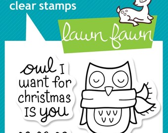 Lawn Fawn Clear Photopolymer Rubber Stamp set - Winter Owl