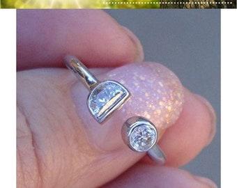 Half Moon and Round Diamond Bezel Ring - 14K White Gold Size 6.5, Resizable