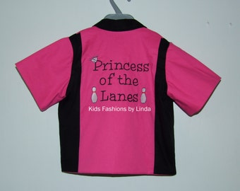 Black/ Hot Pink Princess of the Lanes Bowling Shirt