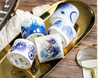 set of 5 magic washi tape/moon washi tape/dream wing washi tape /magic  girl washi tape /Gearwheel washi tape /magic castle washi tape /