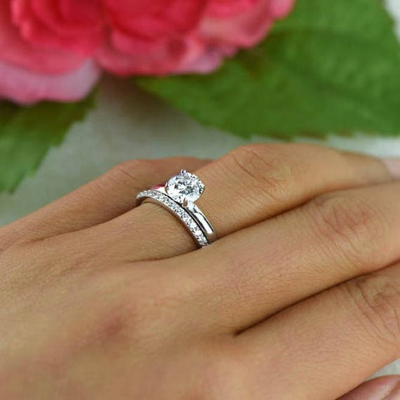 1 ct Round Bridal Set Solitaire Ring Half Eternity Band