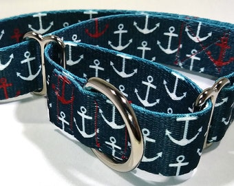 1 Inch Anchors Away Polyester Webbing Martingale Collar
