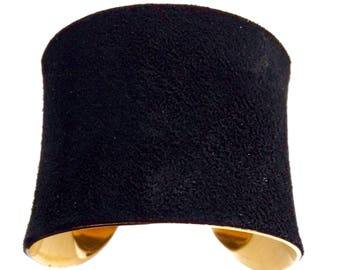 Classic Black Suede Gold Lined Cuff Bracelet - by UNEARTHED