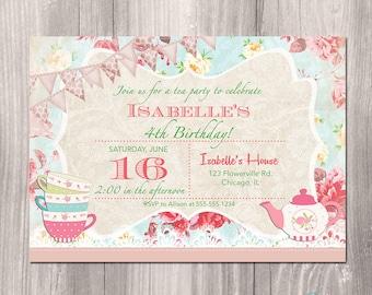 Tea Party Invitation, Tea Party Birthday Invitation, Shabby Chic Birthday Invitation, Printable Tea Party Invitation, Printable Invitation