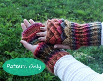 PATTERN ONLY Crochet Dragon Scale Gloves Gauntlets, PDF Digital Download, Crocodile Stitch Fingerless Gloves with ribbing