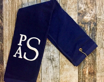 Monogrammed Golf Towel - Trifold Grommet and Hook Velour Towel - Available in Red, Navy, Black or White