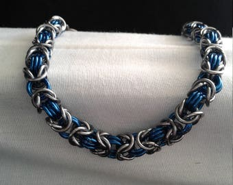 Blue and Gunmetal Byzantine Bracelet