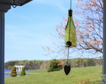Yellow Wine Bottle Wind Chime - Garden Gift- Outdoor Decor - Wine Bottle Chime - WindChime - Gift for Mom - Wine Decor - Gift for Women