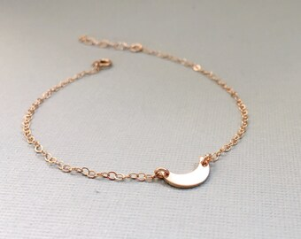 Rose Gold Filled Moon Bracelet, Sterling Silver Moon Bracelet, Gold Filled Crescent Moon Bracelet, Everyday Bracelet, Crescent Moon Jewelry