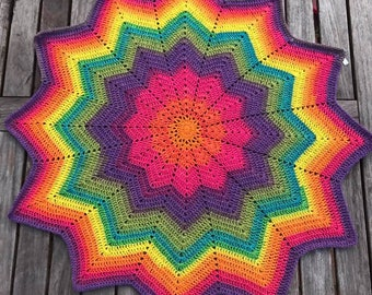 12 Point Star Customisable Variegated Yarn Baby Blanket