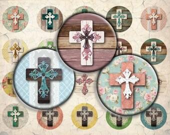 Shabby Chic Cross Digital Download - 30mm, 25mm (1 inch) & 20mm circles - 1 Inch Circle Digital Download