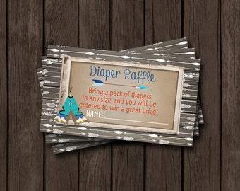Boy Baby Shower Diaper Raffle Tickets Tribal Woodland Rustic Arrow Little Brave Wood Burlap Vintage Teepee Printable Instant Download