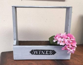 Rustic Wine Caddy / Carrier / Holder Old, Wood and Handmade