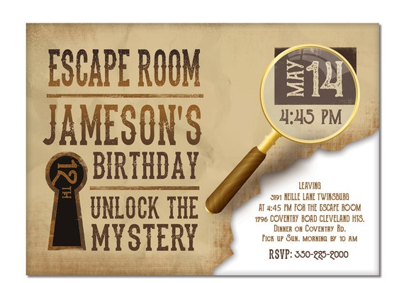 Printable Birthday Invitations For Boy ~ Escape room invite boys or girls birthday invitation gold