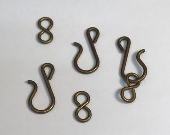 Vintage Oxidized Brass Hook and Eye Clasp Set, Hook with Infinity Clasp, 5 Sets