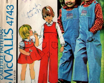 1975 Children's JUMPSUIT JUMPER SHIRT Pattern McCall's #4743 with Embroidery Transfers Size 3 Boys & Girls Unisex Vintage Sewing