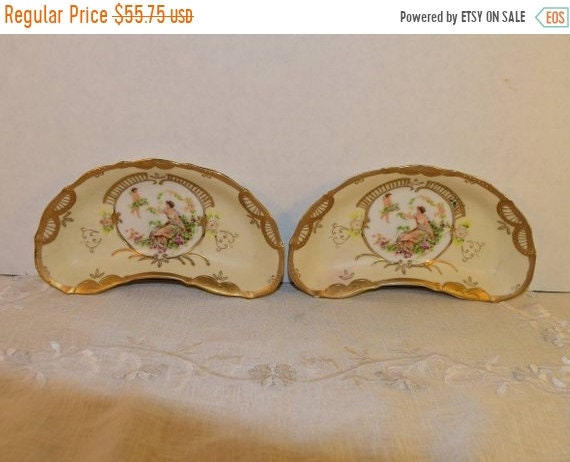 Delayed Shipping French Provincial Crescent Boning Dish Vintage Mothers Day Gift for Her Hand Painted Gilded Bowls 2 Rococo Art Nouveau Trin