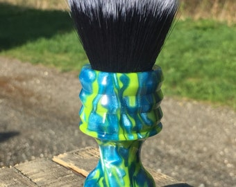 Custom Handcrafted Seaweed Bay Resin Shaving Brush. Shown with a 24mm Black Hammer synthetic Badger knot.