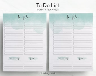 To Do List, Happy Planner, Printable Planner, To Do List Printable, MAMBI, To Do, Daily Planner, Watercolor Inserts, MAMBI Planner
