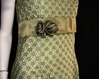 Mod Vintage Brocade Dress with Empire Waist is Stunning