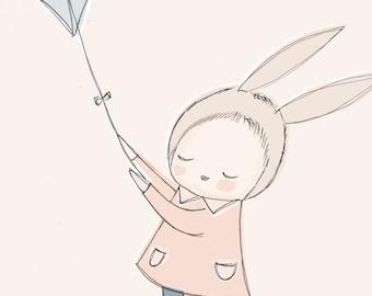 "Large Format Art Print - Bunny Girl Flying a Kite in the Sky - Peach nursery art - A3 or 11x14"""
