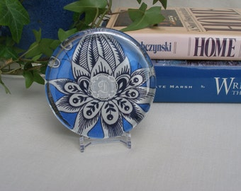 Vintage embroidered monogram D paperweight, blue, gift for her, office gift, keepsake