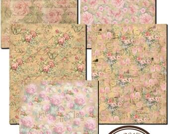 Instant Download - Vintage Floral Paper Pack  -  Printable Digital Collage Sheet - Digital Download