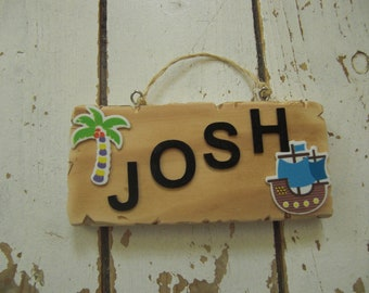 Pirate driftwood name sign