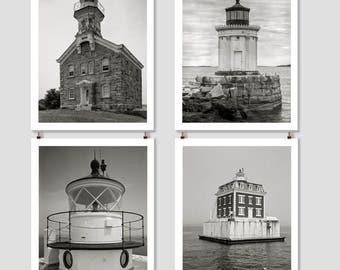 New England Lighthouse Photo Collection, 4 Prints, Cottage Wall Art, Coastal Decor, Nautical Theme, Beach House, Black & White, Photo Set