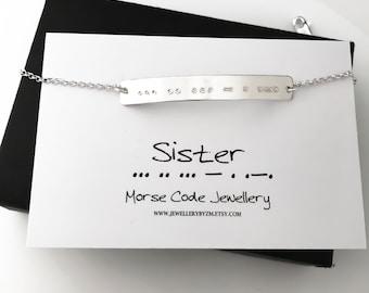 SISTER Morse Code Bracelet - Secret Code Bracelet