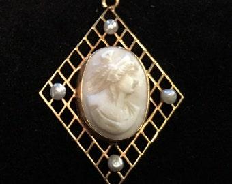 Old Antique Vintage Hand Carved Pink Shell Angel Skin Cameo Pendant of Greek Goddess Hera