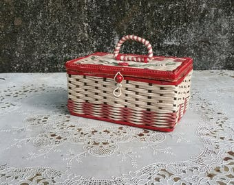 Vintage Red Wicker Sewing Box Wicker with Taffeta Lining