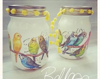 New budgie Mason ball decoupaged jar set