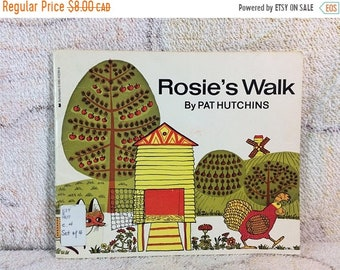 SUMMER SALE Rosies Walk Pat Hutchins Book 1987 Retro Kids Book Cute Country Farm Illustrations