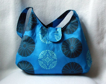Blue Hobo Bag - Amy Butler Pressed Flowers Hobo Purse