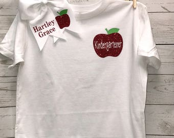 Kindergarten Top, School Shirt, Kindergarten Shirt, girl's clothing, tops, apple shirt, personalized shirt, kindergarten, clothing, hairbow,