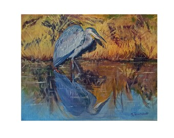 Original Great Blue Heron Hunting For Dinner Oil Painting On Canvas Board 11 x 14 Fine Art Bird Decor Home Wall  Decor