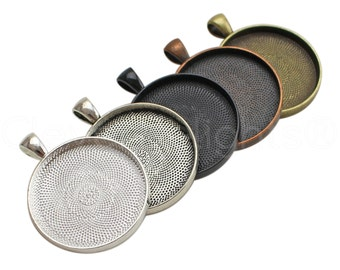 """50 Pk - 30mm (1 3/16"""") Round Trays - Mix and Match - Vintage Style Pendant Blanks - Silver Bronze Copper Black - 30 mm 1 3/16 Inch Tray"""