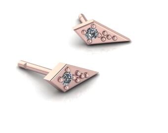 Dagger Earrings 14K Rose Gold Diamond Studs Gold Post Earrings
