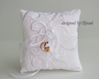 White wedding ring bearer pillow with lace---ring bearer pillow, wedding rings pillow , wedding pillow