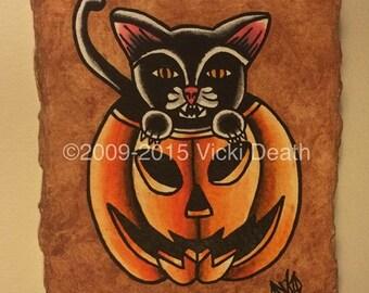 Halloween Pumpkin Cat Original Painting