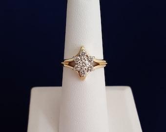 Diamond Flower Ring in 14k Gold - EB161