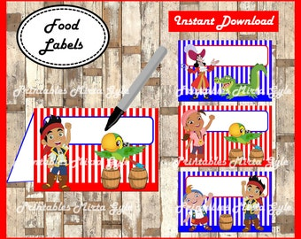 jake and the neverland pirates Food labels, printable jake and the neverland pirates party food tent cards , Jake food tent cards