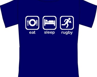 Kids Eat, Sleep, Rugby- Funny Rugby Fanatic T-Shirt