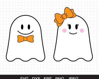 Ghost svg, Halloween svg, Girl ghost svg ,Boy ghost svg, Ghost with bow svg, kids halloween, spooky svg, cut files for CirCut & Silhouette