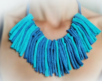 boho,chick,necklace,fabric necklace,turquoise,blue,cloth,upcycled, up cycled and new materials,handmade,cotton,string