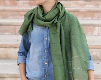 Green scarf, natural silk scarf, classic scarf, plain green scarf, long scarf, thin scarf, light scarf, beautiful scarf, scarf for women